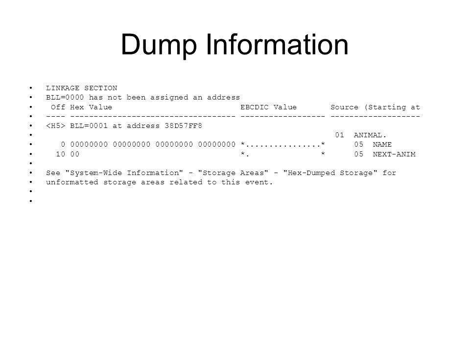 Dump Information LINKAGE SECTION