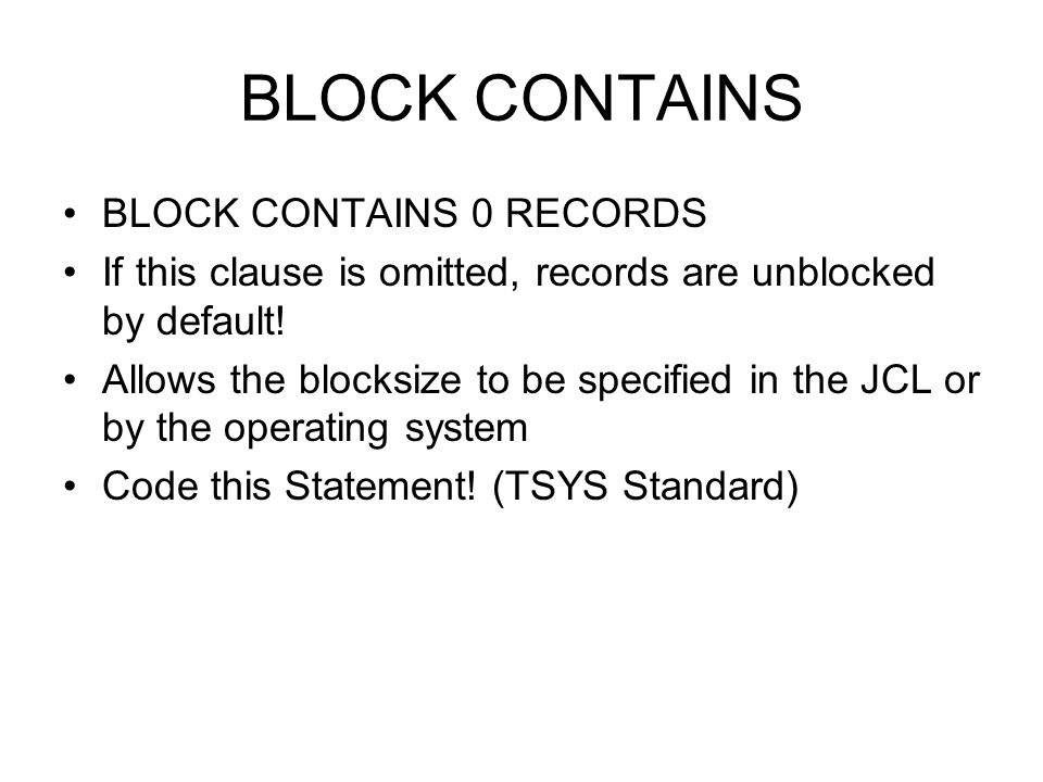 BLOCK CONTAINS BLOCK CONTAINS 0 RECORDS
