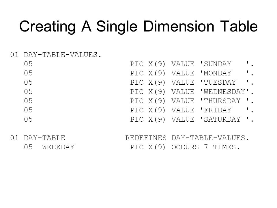 Creating A Single Dimension Table