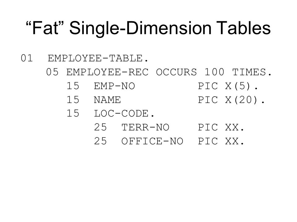 Fat Single-Dimension Tables