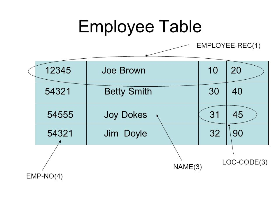 Employee Table 12345 Joe Brown 10 20 12345 Joe Brown 10 20
