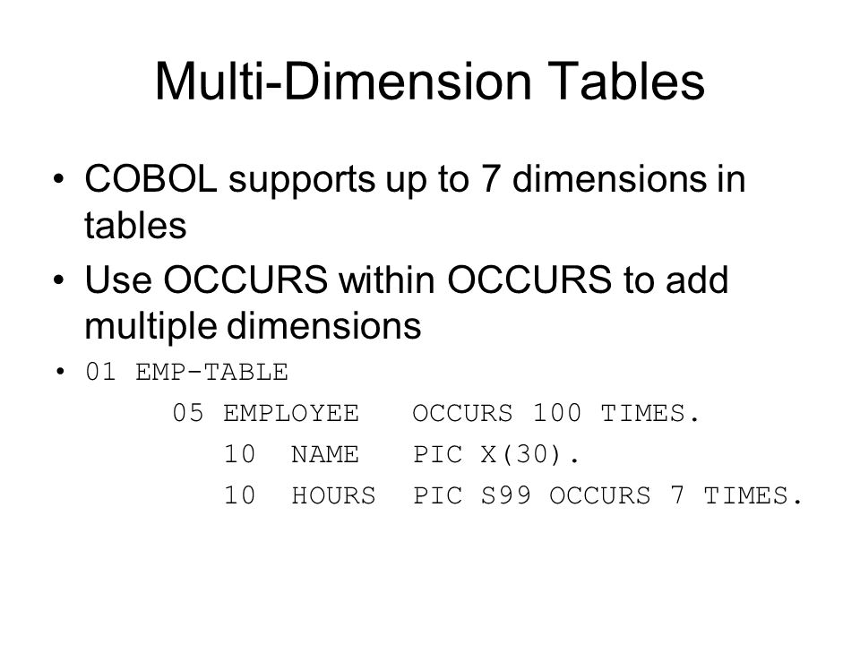Multi-Dimension Tables