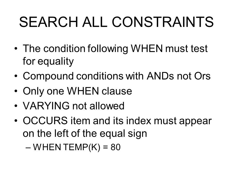 SEARCH ALL CONSTRAINTS