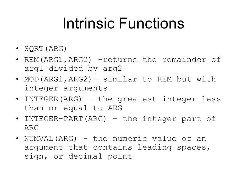Intrinsic Functions SQRT(ARG)