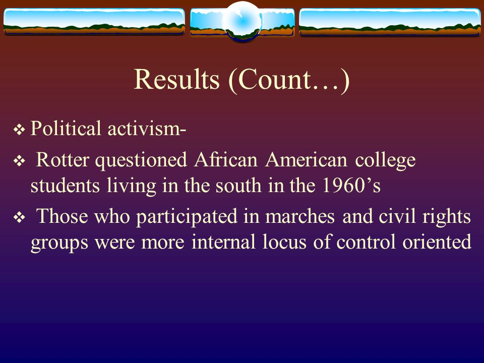 Results (Count…) Political activism-