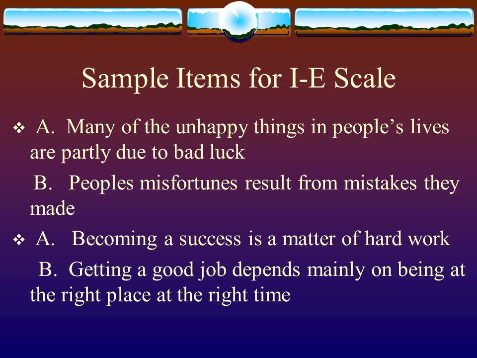 Sample Items for I-E Scale