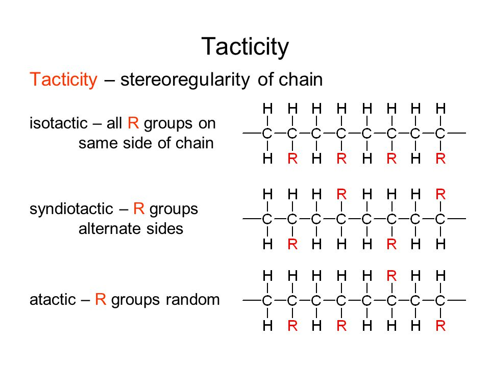 Tacticity Tacticity – stereoregularity of chain