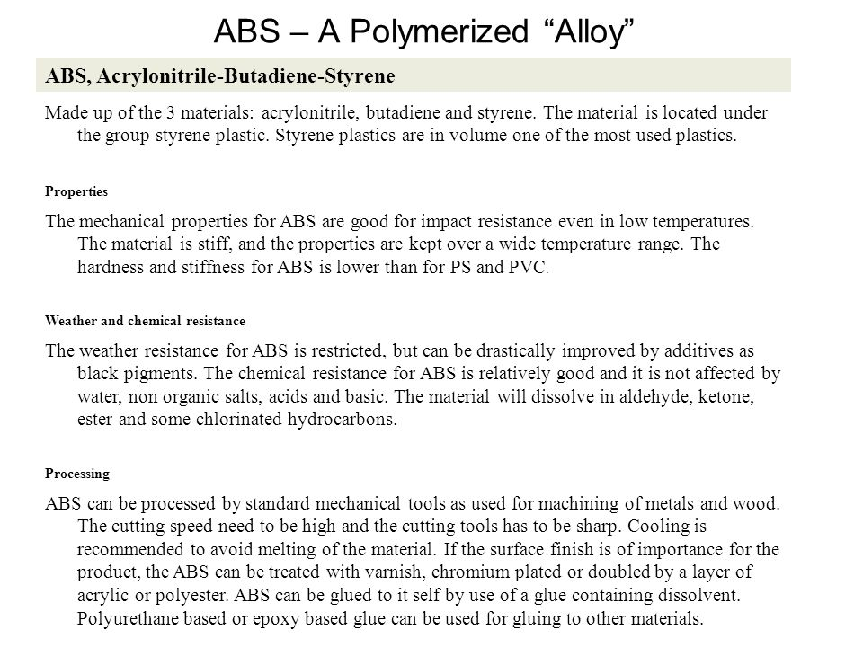 ABS – A Polymerized Alloy