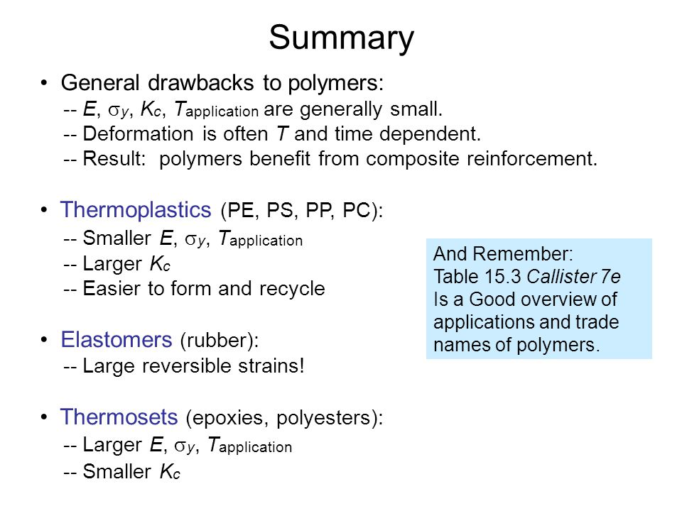 Summary • General drawbacks to polymers: