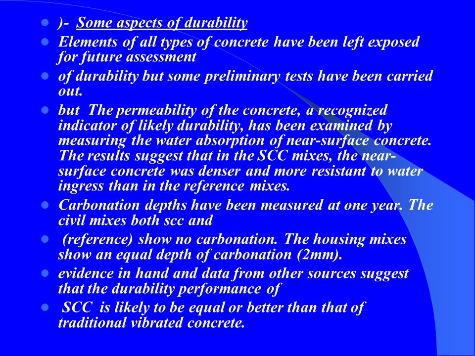 )- Some aspects of durability
