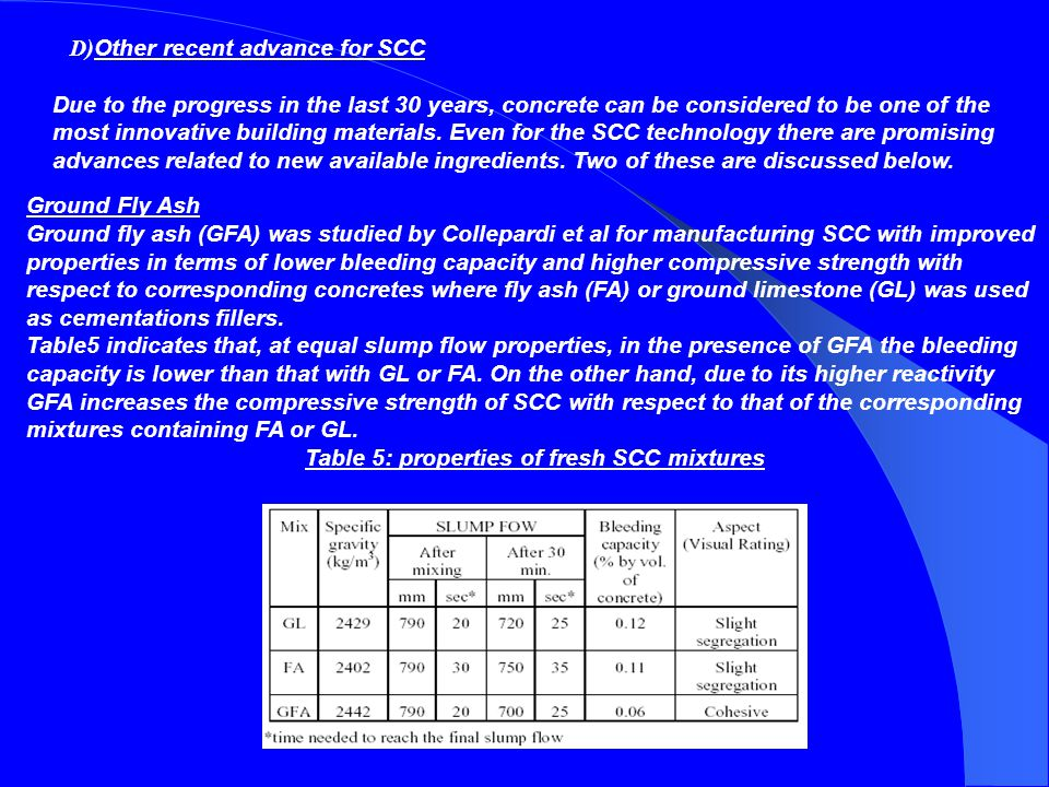 Table 5: properties of fresh SCC mixtures