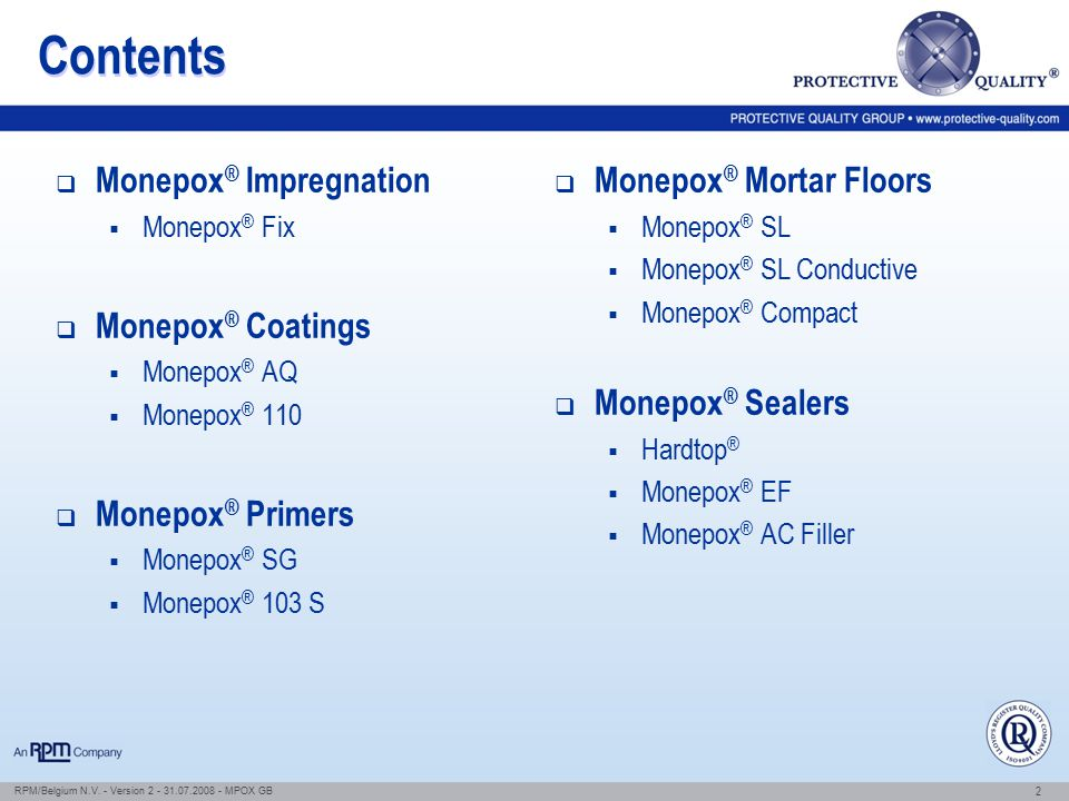 Contents Monepox® Impregnation Monepox® Coatings Monepox® Primers