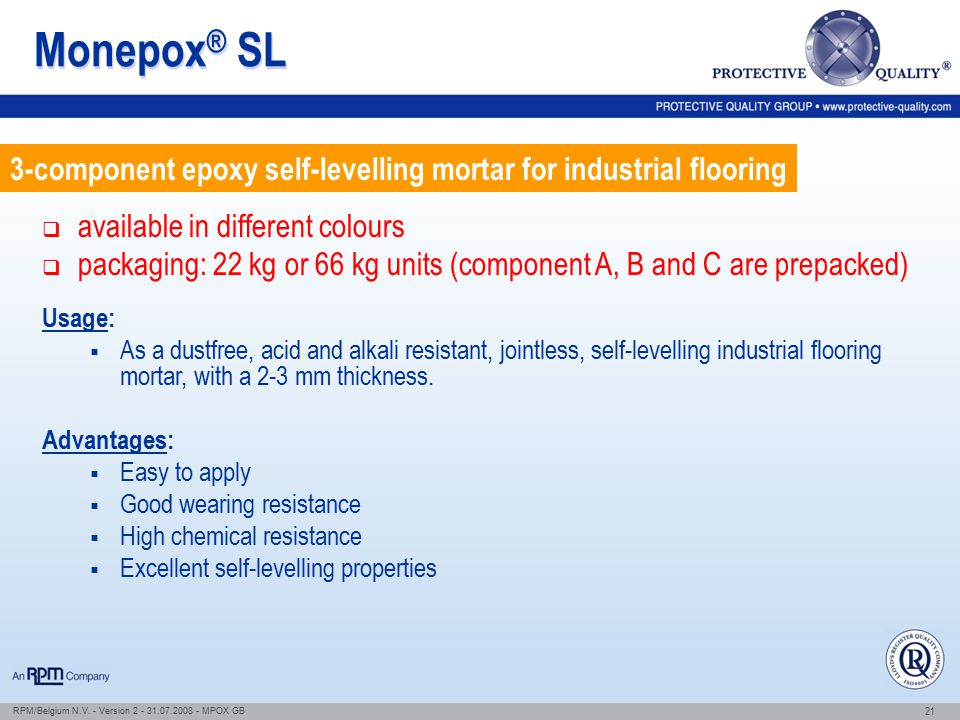 Monepox® SL 3-component epoxy self-levelling mortar for industrial flooring. available in different colours.