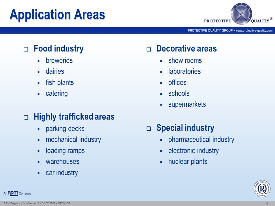 Application Areas Food industry Highly trafficked areas