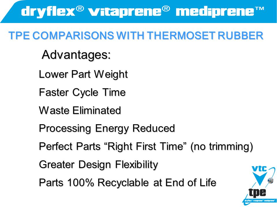 TPE COMPARISONS WITH THERMOSET RUBBER