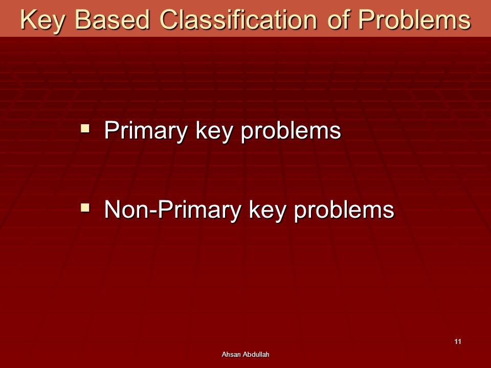 Key Based Classification of Problems
