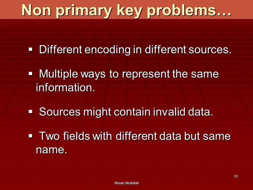 Non primary key problems…