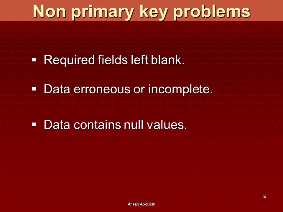Non primary key problems