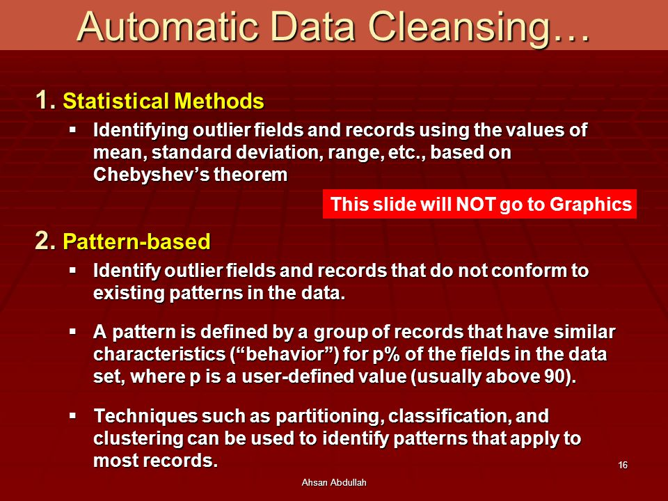 Automatic Data Cleansing…
