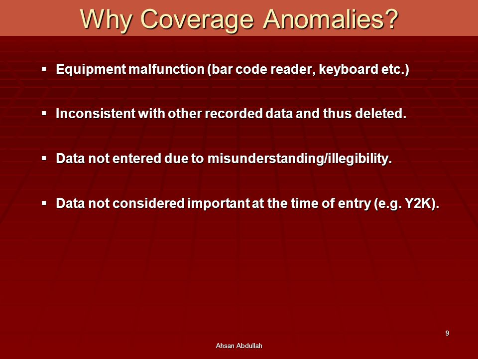 Why Coverage Anomalies