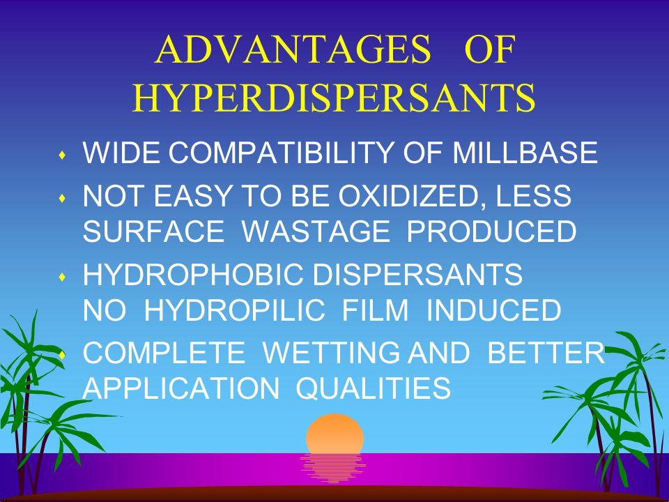 ADVANTAGES OF HYPERDISPERSANTS