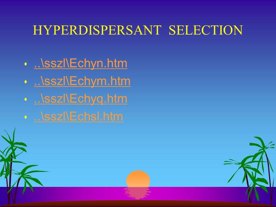HYPERDISPERSANT SELECTION