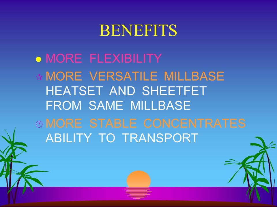 BENEFITS MORE FLEXIBILITY