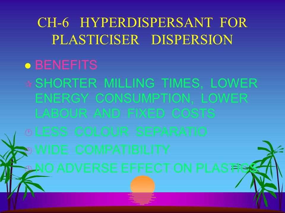 CH-6 HYPERDISPERSANT FOR PLASTICISER DISPERSION