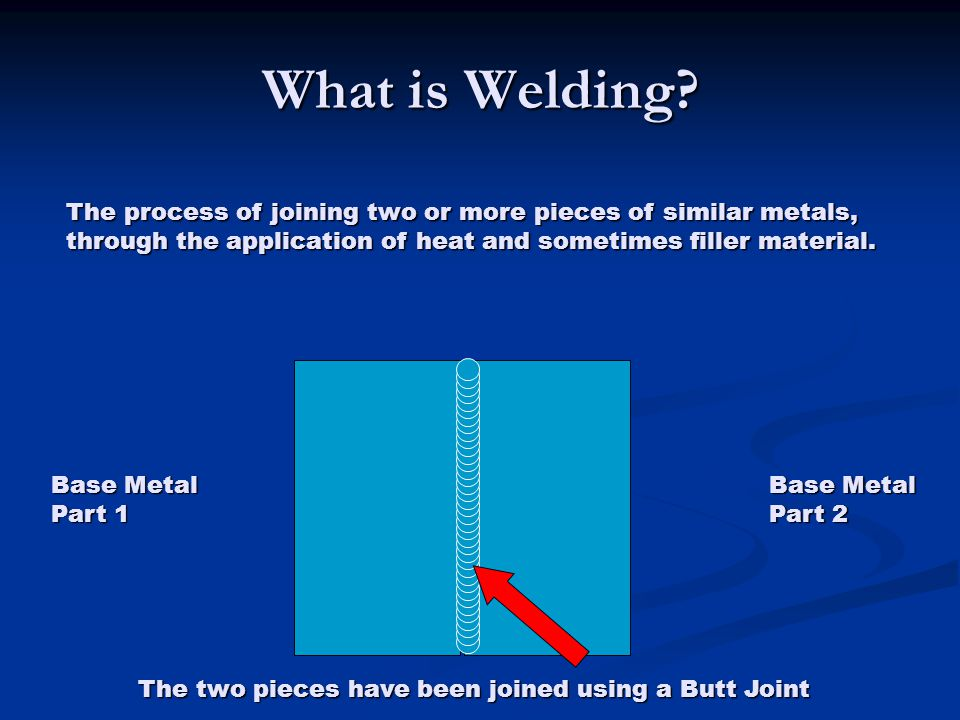 What is Welding The process of joining two or more pieces of similar metals, through the application of heat and sometimes filler material.