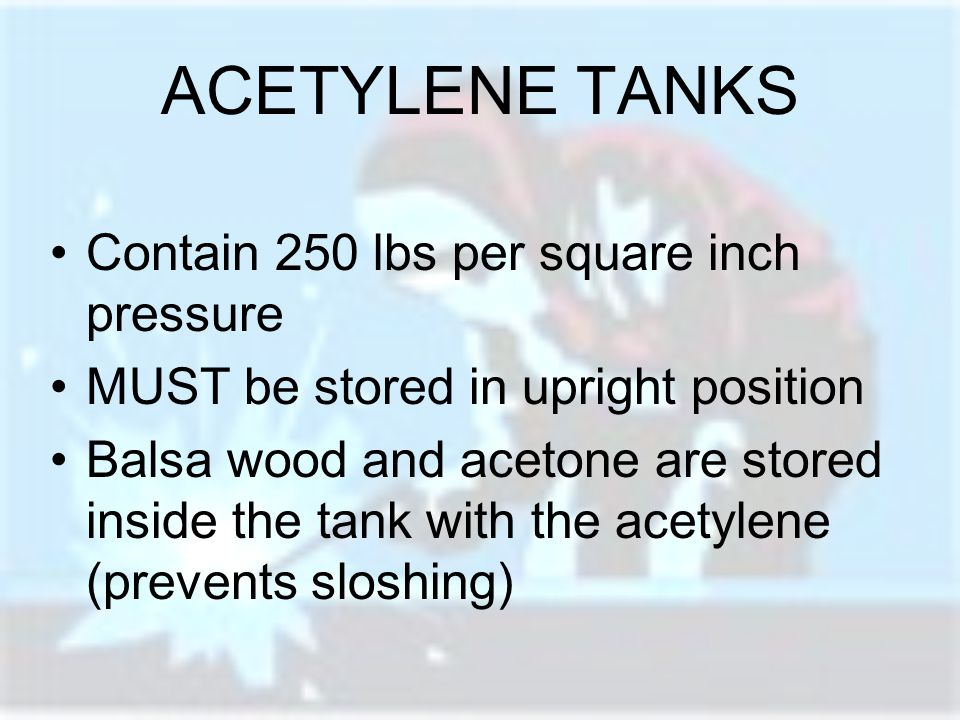 ACETYLENE TANKS Contain 250 lbs per square inch pressure