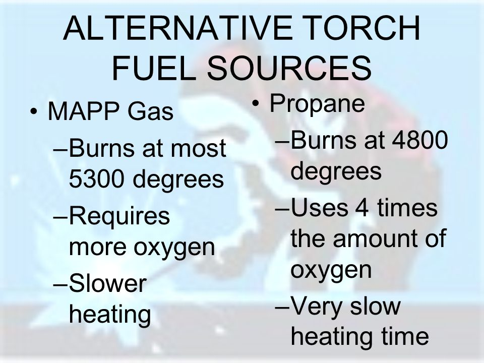 ALTERNATIVE TORCH FUEL SOURCES