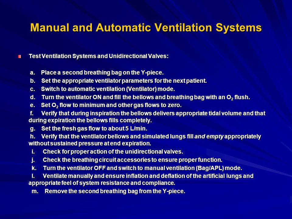 Manual and Automatic Ventilation Systems