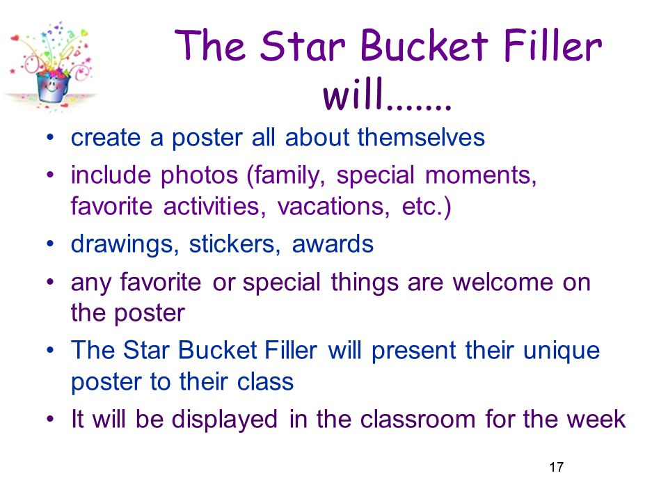 The Star Bucket Filler will.......