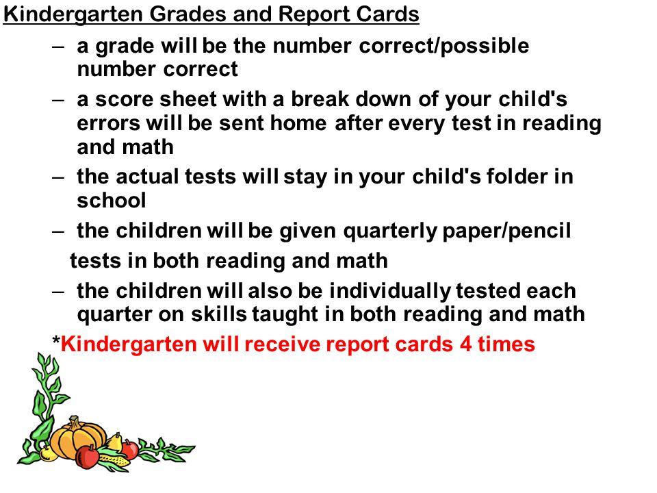 Kindergarten Grades and Report Cards