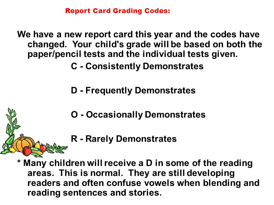 Report Card Grading Codes:
