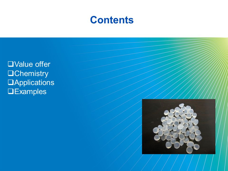 Contents Value offer Chemistry Applications Examples