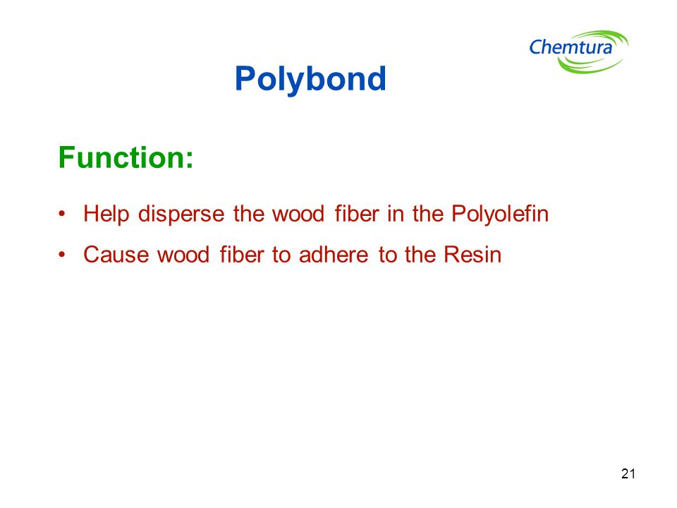 Polybond Function: Help disperse the wood fiber in the Polyolefin