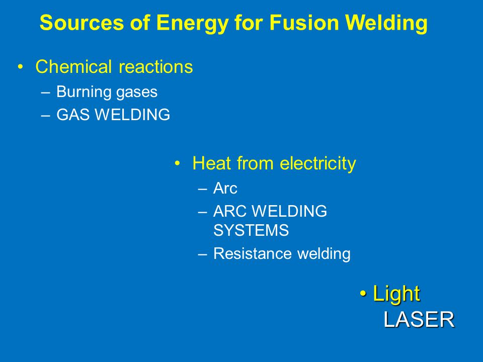 Sources of Energy for Fusion Welding