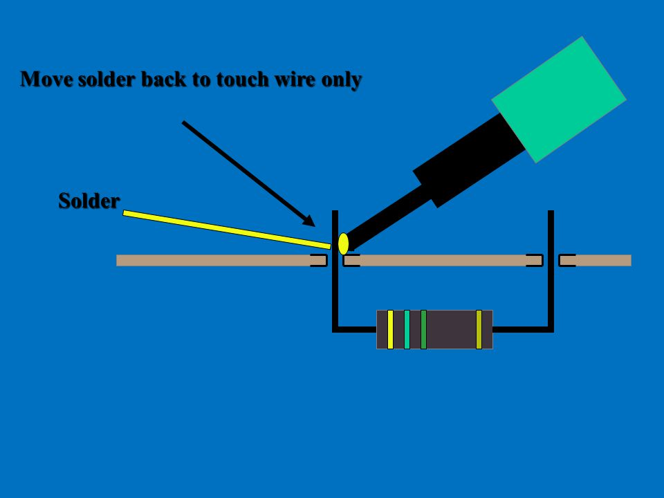 Move solder back to touch wire only