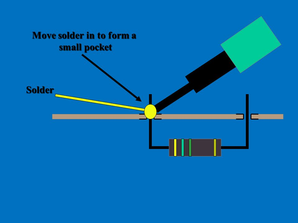 Move solder in to form a small pocket Solder