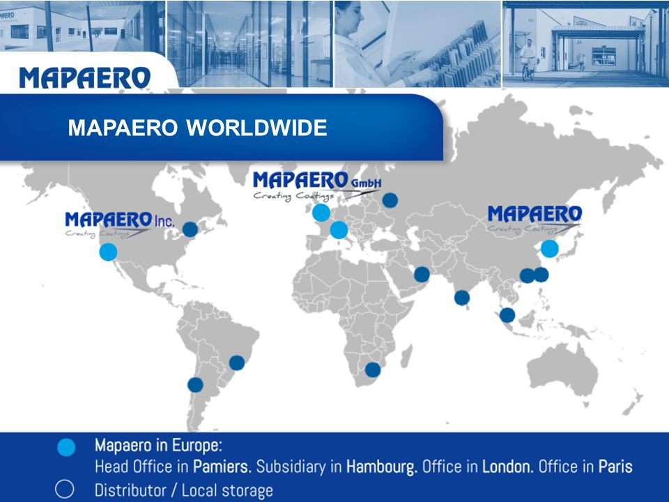 MAPAERO WORLDWIDE Finaliser la carte, faire un encart bleu (type site Web) Ajouter légende: point bleu= distributor= local storage.