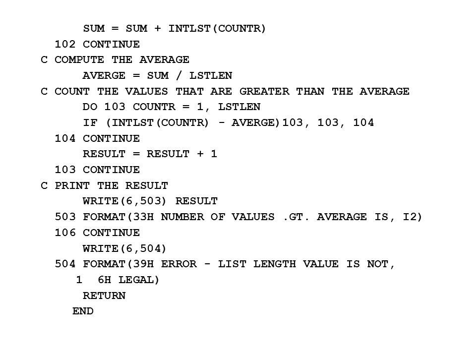 SUM = SUM + INTLST(COUNTR)