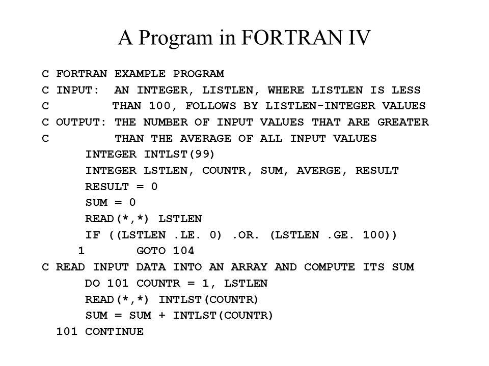 A Program in FORTRAN IV C FORTRAN EXAMPLE PROGRAM