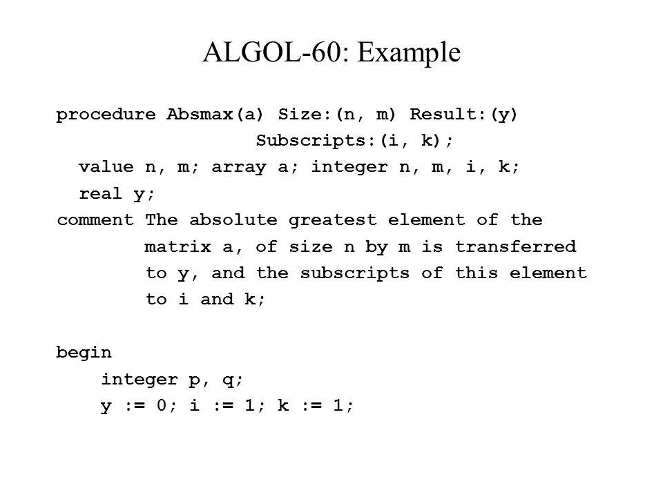 ALGOL-60: Example