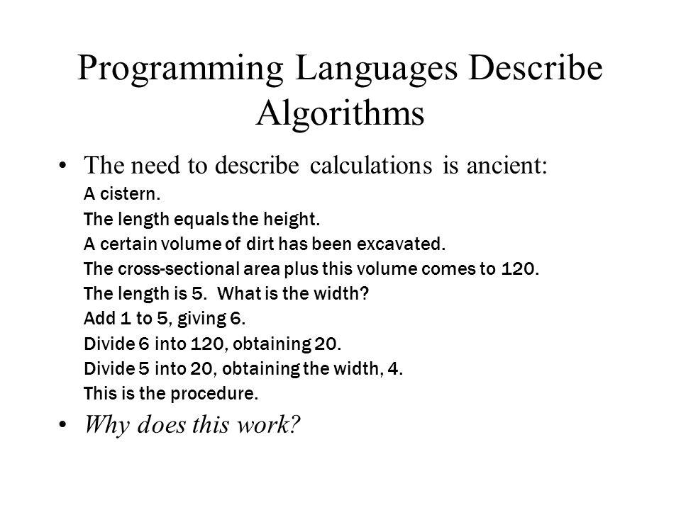 Programming Languages Describe Algorithms