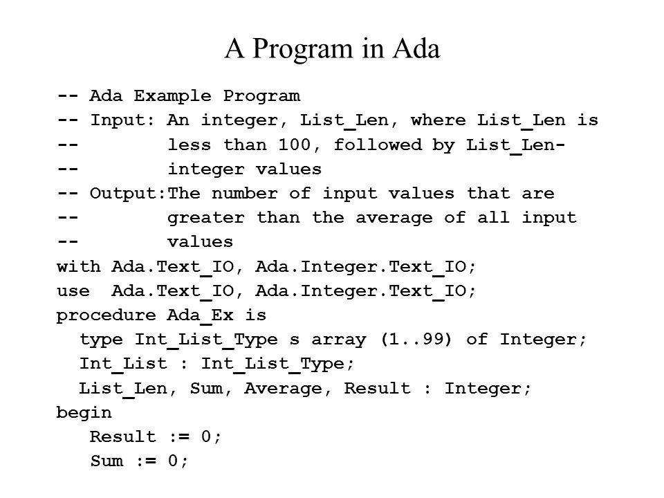A Program in Ada -- Ada Example Program
