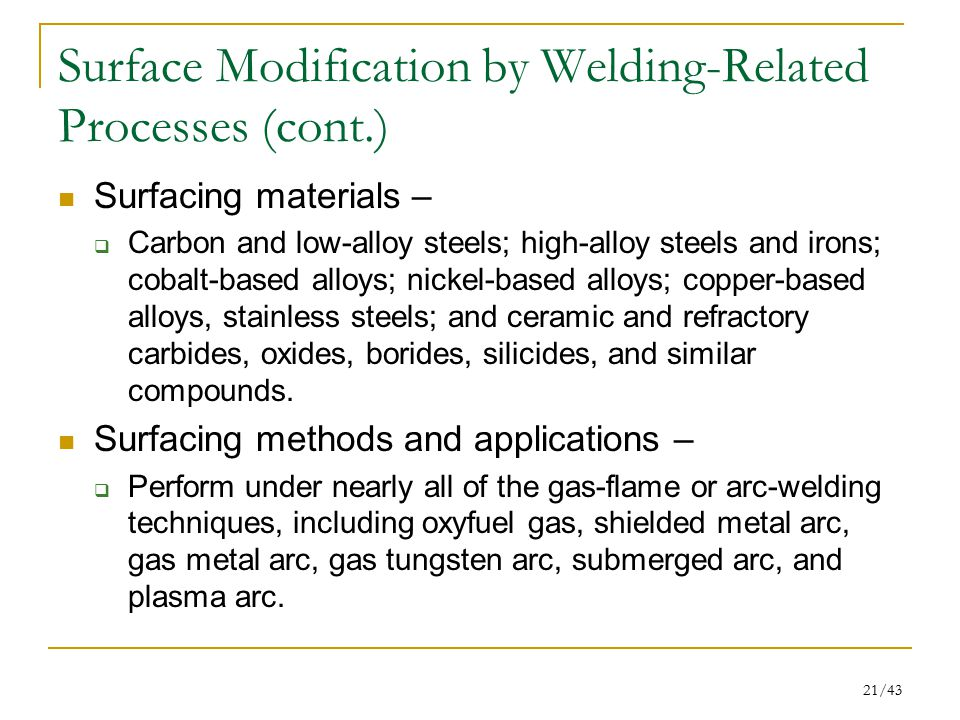 Surface Modification by Welding-Related Processes (cont.)