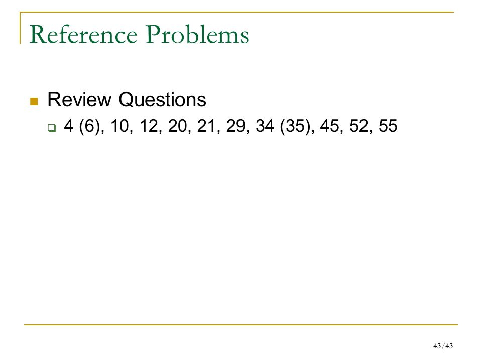 Reference Problems Review Questions