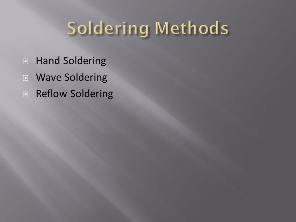 Soldering Methods Hand Soldering Wave Soldering Reflow Soldering