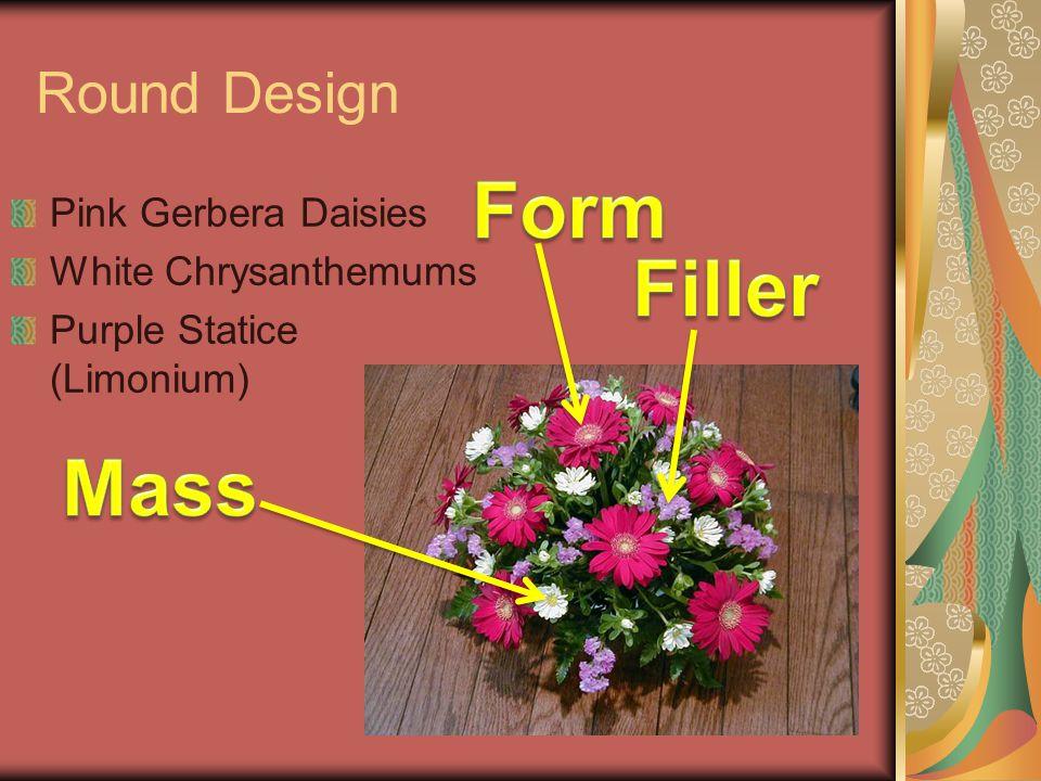 Form Filler Mass Round Design Pink Gerbera Daisies